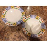 Тарелки цветные 6 штук лотом. Обеденная диаметр 23 см, суповая диаметр 20 см. Каждой по 3 штуки.