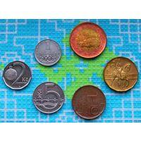 Набор монет Чехия 1, 2, 5, 10, 20, 50 крон. АU.