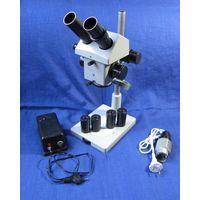 Микроскоп МБС-10 (ОГМЭ-П3) с увеличенным фокусным расстоянием. С подсветкой