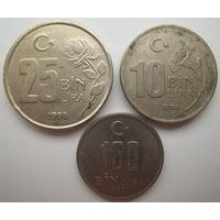 Турция 100000 лир 2001 + 25000 лир 1998 + 10000 лир 1996 гг. Цена за все (u)