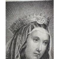 Старинная гравюра икона образ св. Мария католическая 19 век Варшава Польша 17 * 11 см., изображение 10 * 7.3 см.