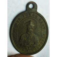 """Старинный медальон католический """" Св. Филипп Нери основатель Конгрегации ораторианцев / Королева Ангелов"""""""