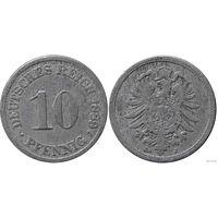 YS: Германия, Рейх, 10 пфеннигов 1889J, KM# 4