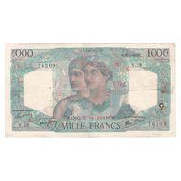 Франция 1000 франков 1945 года. Дата 31 мая. Редкая! Состояние F+!