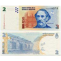 Аргентина. 2 песо (образца 2010 года, P352, серия K, UNC)