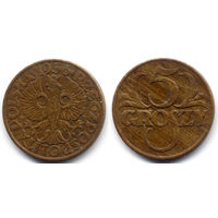 5 грошей 1936, Польша. Коллекционное состояние