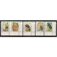 Соломоновы острова Жуки насекомые 1991 год чистая полная серия из 5-ти марок