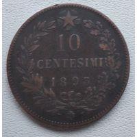 """Италия 10 чентезимо, 1893 """"BI"""" - Бирмингем  6-6-17"""