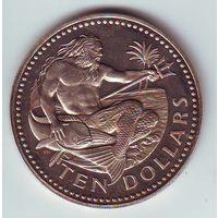 Барбадос. 10 долларов 1975 г. -состояние !