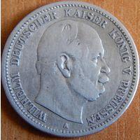 26. Пруссия 2 марки 1876 год -2, серебро*