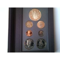 США годовой набор 1989 года - 7 монет от 1 цента до 1 доллара с серебром PROOF