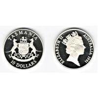 10 долларов Тасмании серебро
