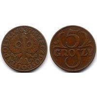 5 грошей 1937, Польша. Коллекционное состояние