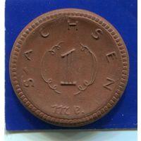 Германия , Саксония 1 марка 1921 , Мейсенский Фарфор
