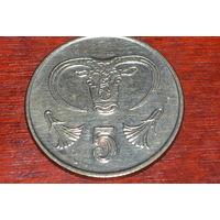 5 центов 1991 Кипр КМ# 55.3 никелевая латунь