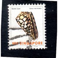 Сингапур. Mi:SG 268A. Мраморный конус (Conus marmoreus) Серия: Морская жизнь.1977.