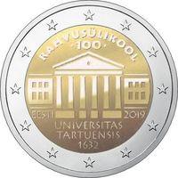 2 евро Эстония 2019 100-летие перевода обучения на эстонский язык Тартуского университета. Из ролла