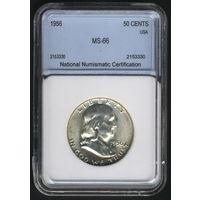1/2 доллара США Франклин 1956 г. в слабе NNC. MS-66.