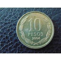 Чили 10 песо 2004 г.
