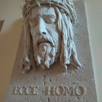 ЛИК ИИСУСА Травертин 48х33х18 см 11 кг икона панно бюст барельеф горельеф