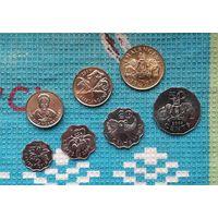 Свазиленд набор монет 5, 10, 20, 50 центов, 1, 2, 5 лилангени, UNC