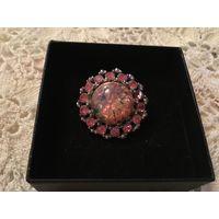 Брошь Розовый Опалит металл под серебро Англия 60-е г