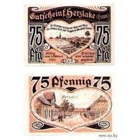 """Notgeld Herzlake (Hann) 75 Pfennig. 1921 год ~ КРАСИВЫЕ """"сердечные деньги"""""""