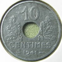 Франция 10 сантимов 1941 КМ 898.2 тонкая в холдере