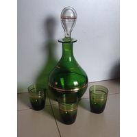Графин-штоф СССР, зелёное стекло