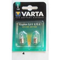 Лампочка Varta 752 для фонаря, криптон, 3.6В, 0.75А