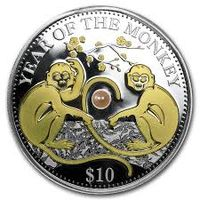 Фиджи 10$, 2016. Год обезьяны. Серебро с позолотой,  жемчужина. Распродажа. Не с рубля. Без минимальной цены.