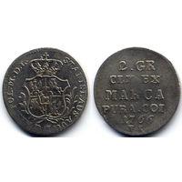 2 гроша серебром 1766 FS, Станислав Август Понятовский, Варшава. Коллекционное состояние