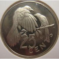 Британские Виргинские острова 25 центов 1974 г. В холдере (gk)