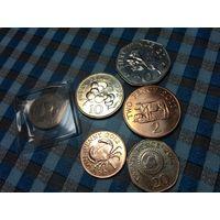 1,2,5,10,20,50 пенсов 1992,2010,2011,2012 года Гернси (6 монет)