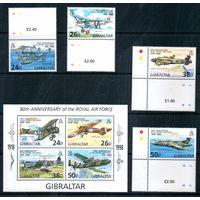Самолеты Гибралтар 1998 год серия из 4-х марок и 1 блока (М)