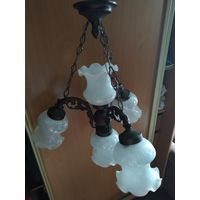 Винтажная лампа-люстра светильник СССР на пять плафонов