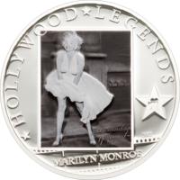 "Острова Кука 5 долларов 2011г. ""Легенды Голливуда: Мэрилин Монро"".  Монета в капсуле; сертификат. СЕРЕБРО 25гр."
