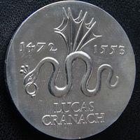 YS: ГДР, 20 марок 1972, 500-летие Лукаса Кранаха, художника, серебро, KM# 41
