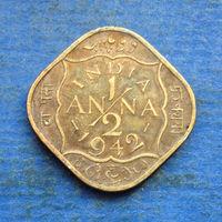 Индия Британская колония 1/2 анны 1942 Георг VI