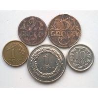 Польша. 2 гроша 1923+5 грошей 1936+1 грош 2009+10 грошей 1999+1 злотый 2013 г.г.