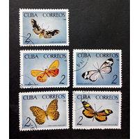 Куба 1965 г. Бабочки Кубы. Фауна, полная серия из 5 марок #0002-Ф1P1