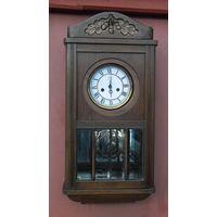 """Настенные часы  """"Ahres"""" с боем и витражными стёклами. Начало прошлого века."""