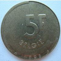 Бельгия 5 франков 1993 г. Belgie