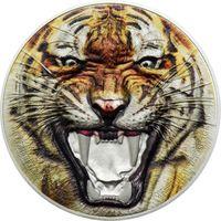 """Танзания 1500 шиллингов 2017г. Вторая монета серии: """"Редкая дикая природа: Королевский бенгальский тигр"""". Монета в капсуле; подарочном футляре; номерной сертификат; коробка. СЕРЕБРО 62,27гр.(2 oz)."""