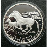 Монголия. 250 тугриков 1992. Лошадь Пржевальского. Серебро. Пруф. 109