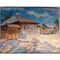 """Жолток В.К. """"Шушенское. Дом Петровой, в котором жил В.И. Ленин. 1970 год. Картон, масло. 37х28."""