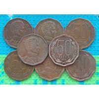 Чили 50 песо. Симон Боливар.