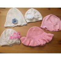 Шапки на новорожденную малышку, 5 штук. Цена за 1 шапку - 3,50, за все 5 шапок - 11,00