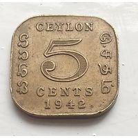 Цейлон 5 центов, 1942 4-4-12