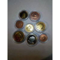 Ватикан 2002-2004 г.г. 8 монет от 1 цента до 1 евро (proof, unc) в капсулах